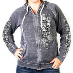Hot Leathers Modern Tattoo Zip Up Women's Hooded sweatshirt (Charcoal, XX-Large)