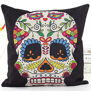 4 PCS 18'' Retro Colorful Floral Mexican Day of the Dead Sugar Skull Linen Pillow Cushion Covers 4NS6