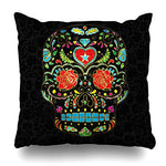 Decorativepillows Covers 18 x 18 inch Throw Pillow Covers,Colorful Floral Sugar Skull Glitter And Gold Pattern Double-sided Decorative Home Decor Pillowcase Garden Sofa Bedroom Car