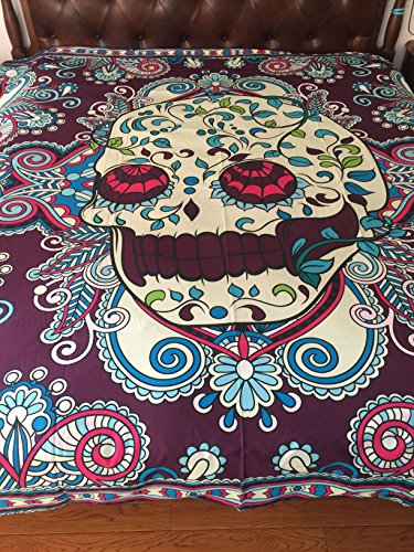 A Anoleu Purple Skull Combined with Paisley Design Printed Skull Bedding Set 3Pc, Reverse Comfortable Solid Purple Cotton Queen Size(Queen)