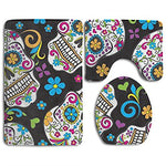 Sugar Skulls Black 3-Piece Soft Bath Rug Set Includes Bathroom Mat Contour Rug Lid Toilet Cover Home Decorative Doormat