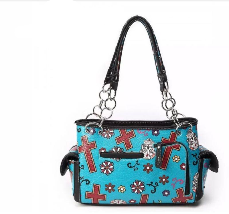 Cowgirl Trendy Western Day of The Dead Sugar Skull Purse Handbag Gothic Punk