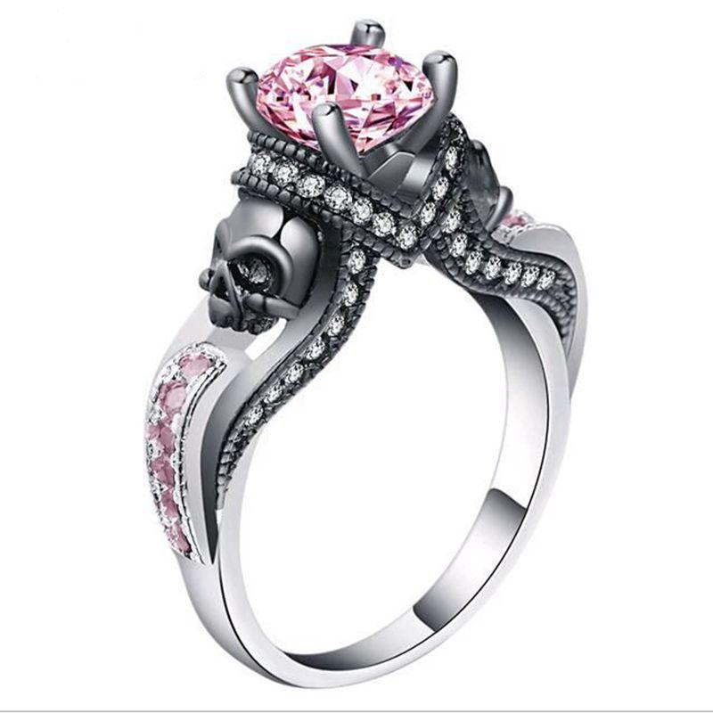 Classic Gothic Skull Style Colour Austrian Crystal CZ Silver Color Rings For Women Jewelry Trendy Birthday Wedding Gift Ring