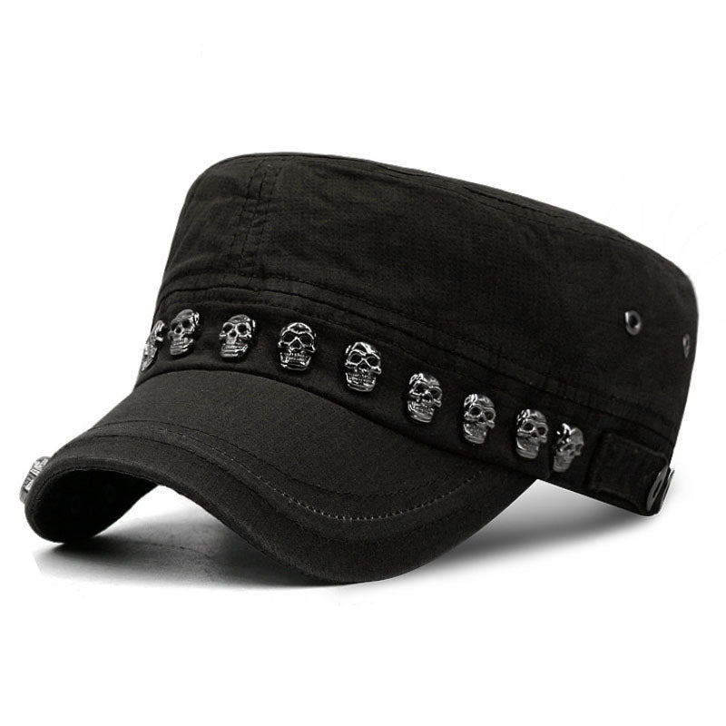 Hip Hop Skull Flat Hats Punk Rivet Ring Men Army Hat