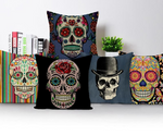 Colorful Square Pillow cover Sugar Skull Decor Living Room