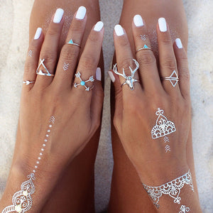 7 pcs/set Vintage Gypsies Beach Elk Dear Head Triangle Drip Arrow Joint Midi Finger Rings Set  8CRD41