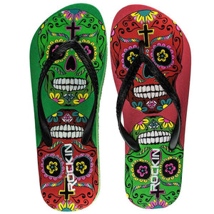 Sugar Skulls Flip-Flops Day of the Dead Beach Women's