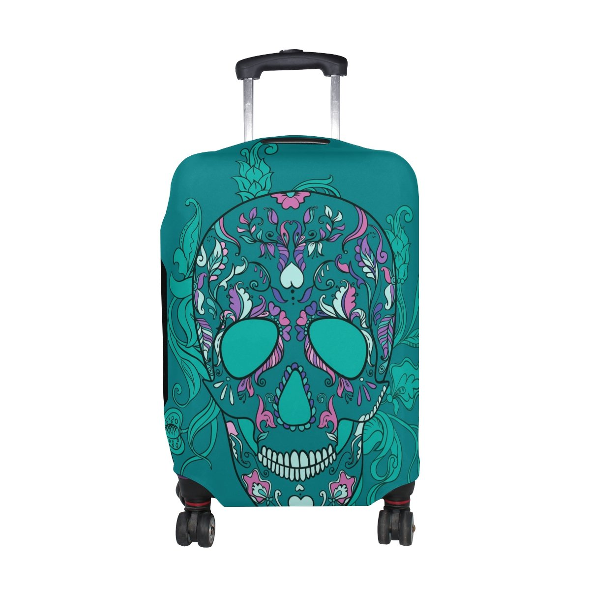 LORVIES Vector Sugar Skull With Ornament Print Travel Luggage Protective Covers Washable Spandex Baggage Suitcase Cover - Fits 18-32 Inch