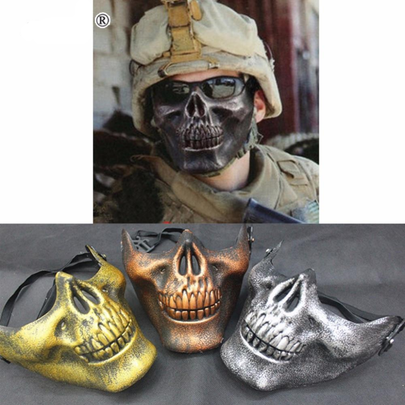Skull Skeleton Mask Army Games Outdoor Metal Mesh Eye Shield Costume for Halloween Party