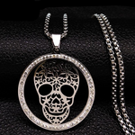Skull Crystal Stainless Steel Necklace