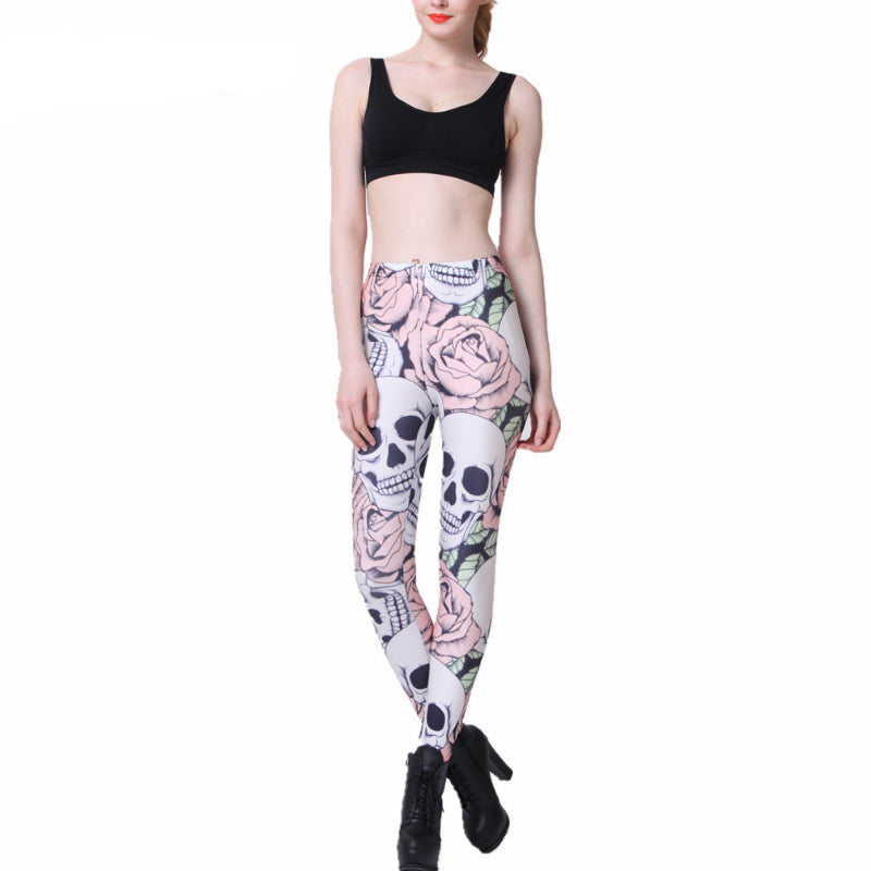 Hot New Fashion ROSE & SKULL Printed Female Fitness New Leggings Femininos Fashion Slim Elastic Pants Women Leggings