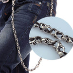 79cm Skull Biker Jean Wallet Chains Silver Ghost Rock Punk Hip-pop Metal Keychain