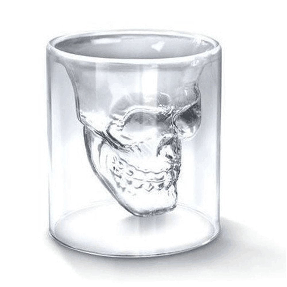 7pcs/set Glass Cup 75ml Crystal Skull Head Shot Glass With 550ml Vodka Bottle Home Bar Mug Beer Wine Champagne Cristal Glass Cup