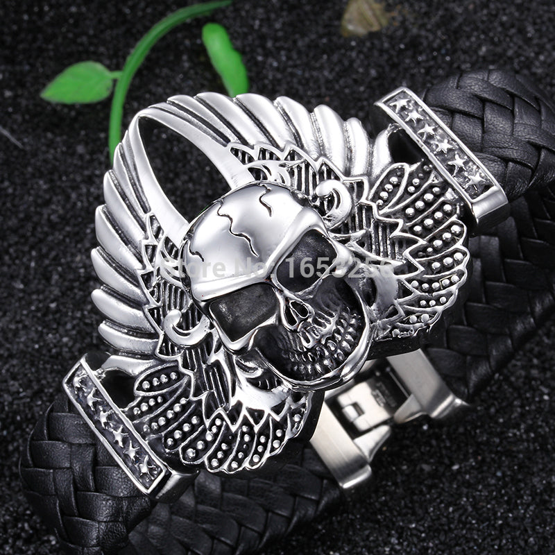 8.66'' Cool 316L Stainless Steel Men's Heavy Genuine leather Large Angel wings Skull Bracelet  Bangle Husband / father gifts