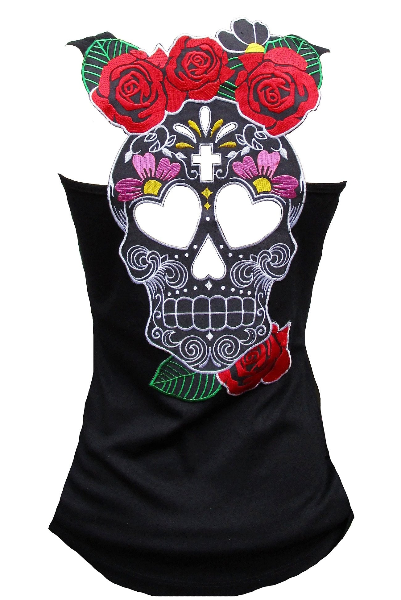 Rockabilly Punk Rock Baby Woman Black Tank Top Shirt Muerte Flower Tiki Skull