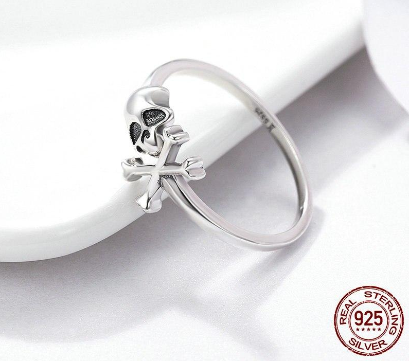100% 925 Sterling Silver Hyperbole Skeleton Skull Pirate Ring Vintage Sterling Silver Jewelry Halloween Gift SCR145