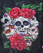 "Ardras Six Skulls N Roses Silk Touch Throw with Sherpa Lining 50"" x 60"""