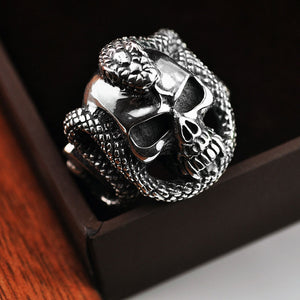 925 Silver Skull Rings Snake Fashion Skeleton
