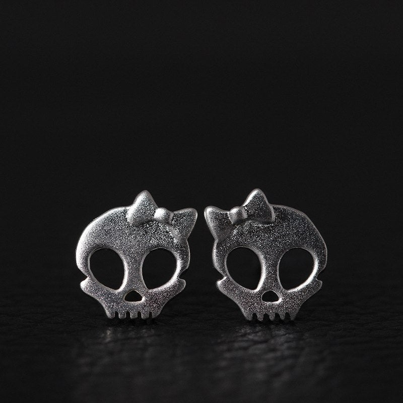 925 Sterling Silver Bow Skull Stud Earrings For Women Personality Fashion Girl Gift Prevent Allergy Sterling-silver-jewelry