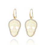 Gold Color Hollow Skull Earrings Trendy Shining CZ Crystal Drop Earrings