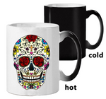 Colorful Skull Mugs Glass Heat Color Changing Cup Discoloration Magic