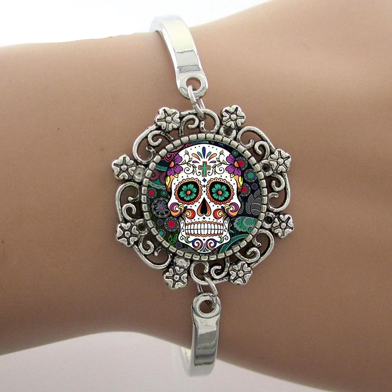 Sugar Skull Bracelets Skeleton Glass Gem Lace Charm Jewelry