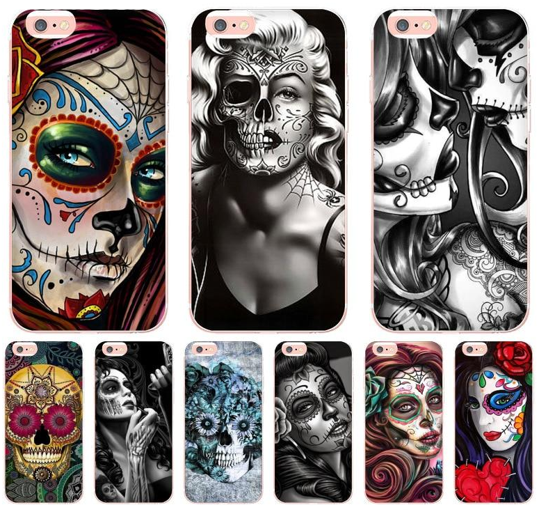Day of the Dead transparent soft tpu phone case cover