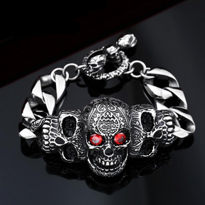 316lStainless steelCool Men's Steel High Quality Red Eye Stone Biker Man Skull charms Bracelet Chain Factory Price BC8-021