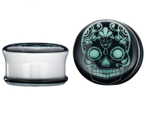 2 PCS Luminous Ear Tunnels Plugs and Gauges Skull Flesh Body Jewelry Ear Expander Stretching Glow In Dark 6-20mm punk