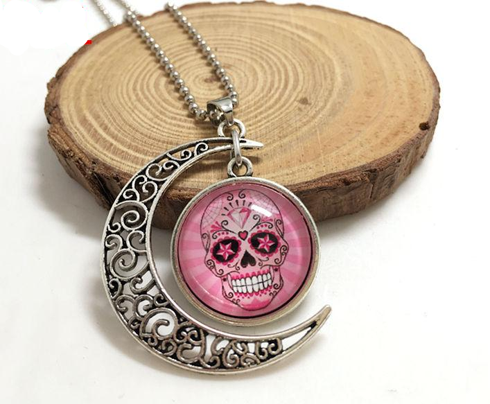NEW Handmade pink sugar skull Hollow Moon Pendant Silver Necklace