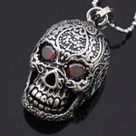 Punk Mexican Tattoo Stainless Steel Skull Pendant Necklace With Red Eyes Crystal Charm Men Fashion Jewelry For Biker