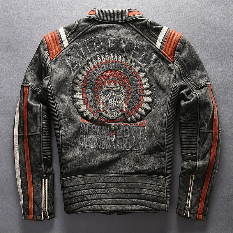 Men's Punk style Embroidery skulls leather motorcycle jacket Vintage black