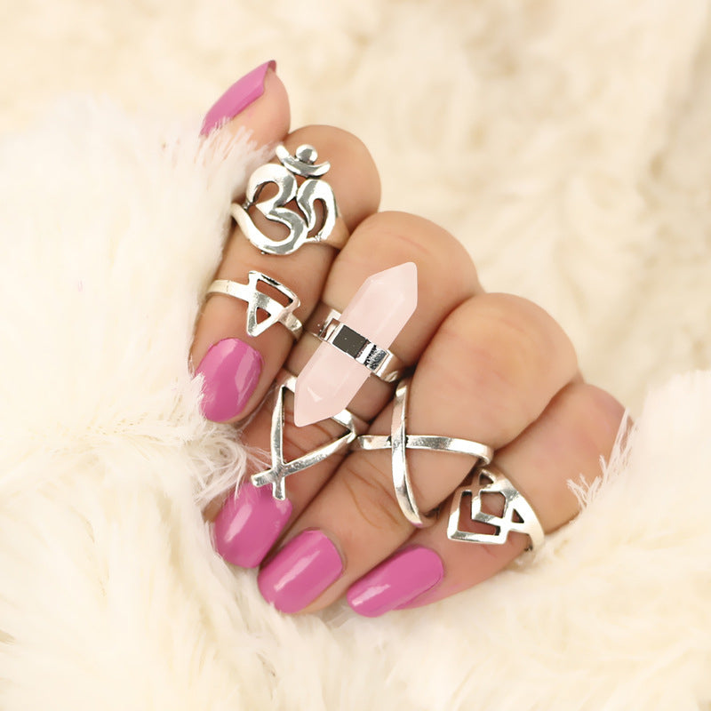 6PCS/Set Fashion Vintage Turkish Midi Ring Set Steampunk Snake Anillos Rings for Women Silver Color Knuckle Skull Ring