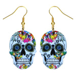 Sugar Skull Earring For Women Calavera Sugary-sweet whimsical skull Earrings Mexican Day of the Dead Halloween