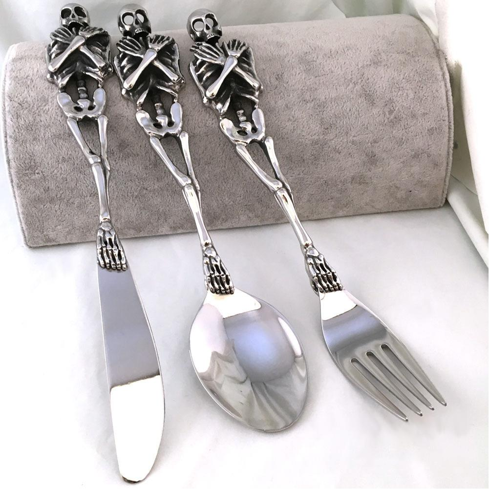 Skull Cutlery Set Stainless Steel Western Dinnerware Fork Wedding Dinner Sets