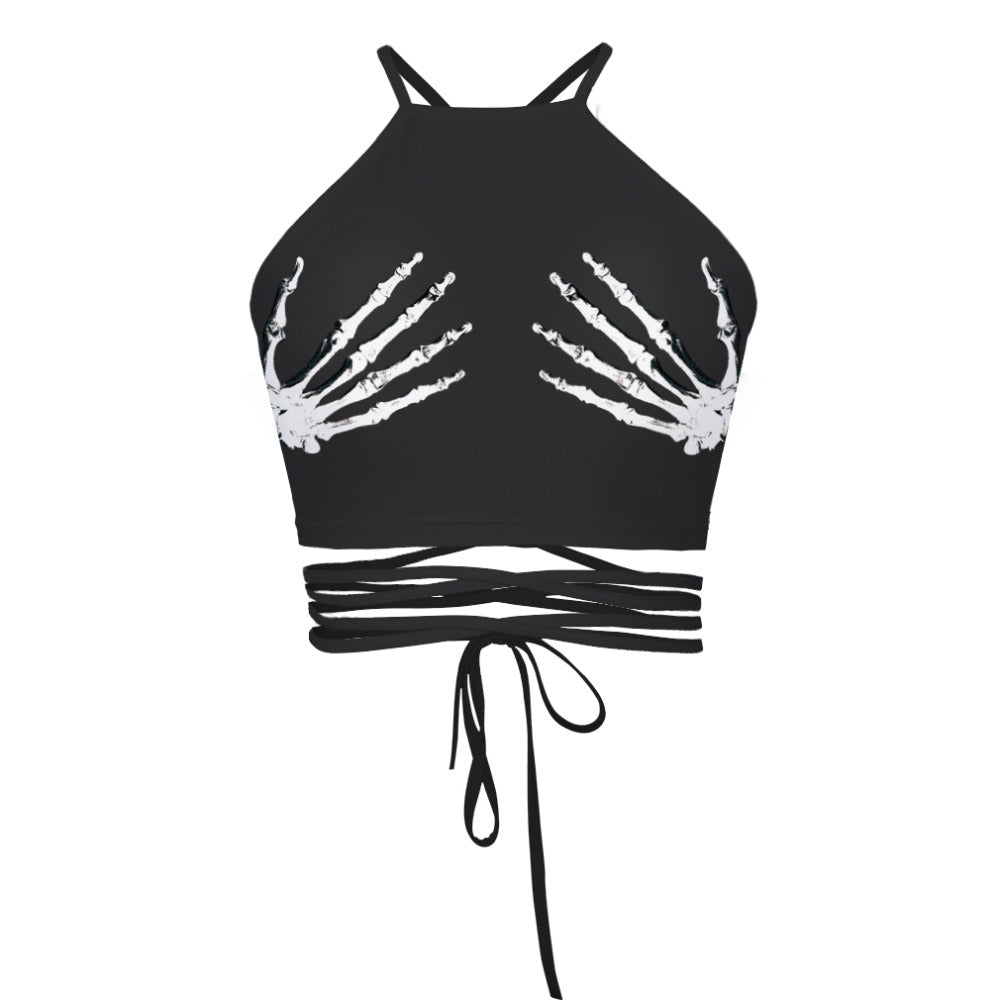 Adogirl New Bra Crop Top Tank Women Skeleton Hand Print Sexy Summer Strapless Halter Neck Vest Backless Crop Tops