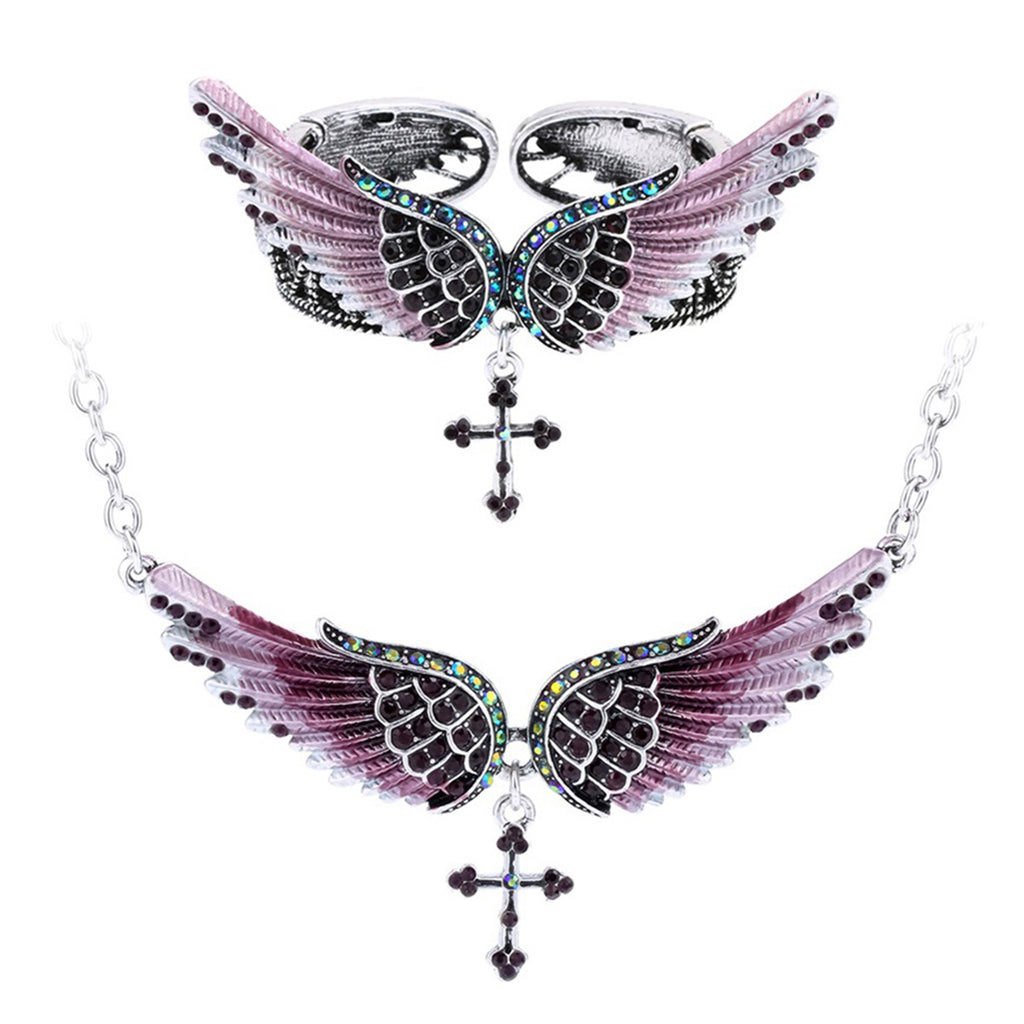 Angel wing cross necklace bracelet sets women biker jewelry birthday gifts women her girlfriend wife mom