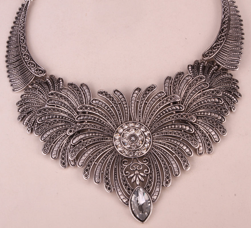 Angel wings bib necklace women biker bling jewelry gifts adjustable antique silver color