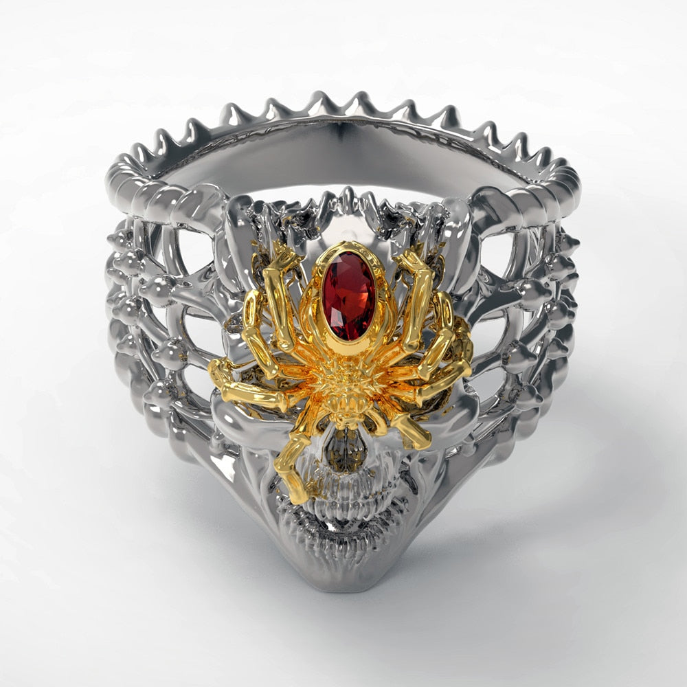 Antique Silver & Gold Color Spider Skull Ring Cubic Zirconia