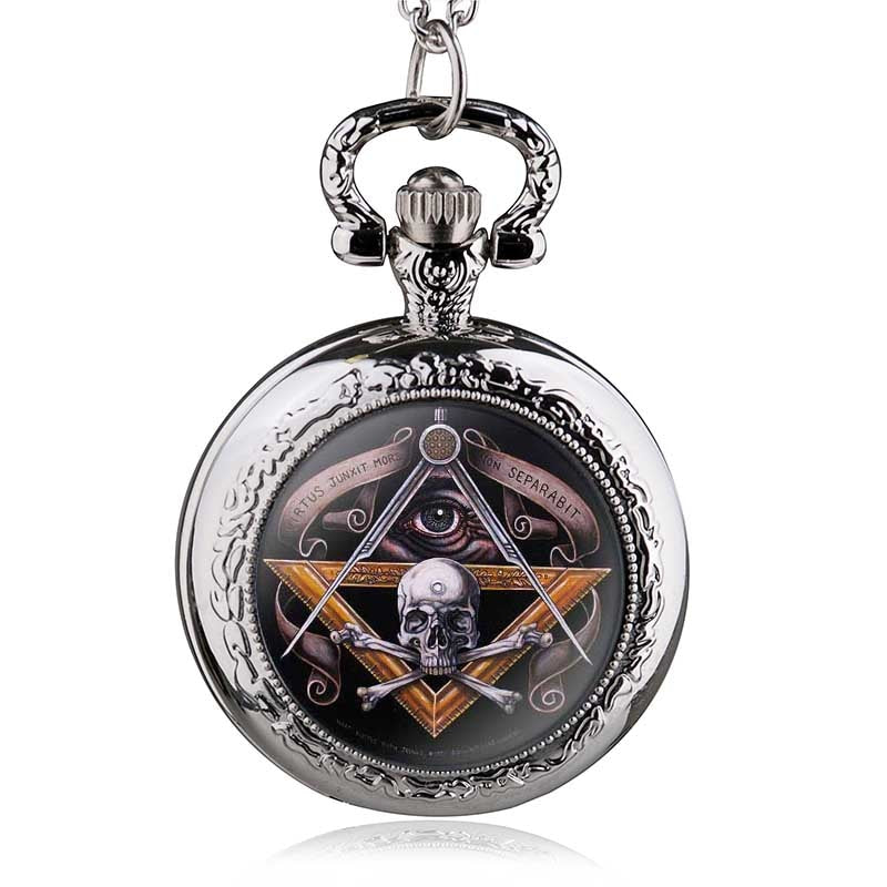 Antique Vintage Skull Masonic Pocket Watch Retro Bronze Pendant Necklace