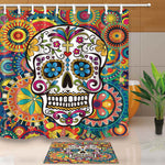 Set of 2 Sugar Skull Bathroom Curtains & Mat