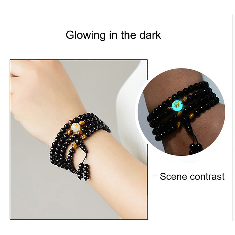 Dragon Black Buddha Beads Bangles & Bracelets Handmade Jewelry Ethnic Glowing in the Dark Bracelet for Women or Men 2018