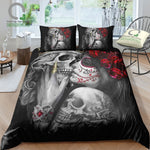 Day Of the Dead Sugar Skull Girl Kissing Skull King Duvet Cover Set