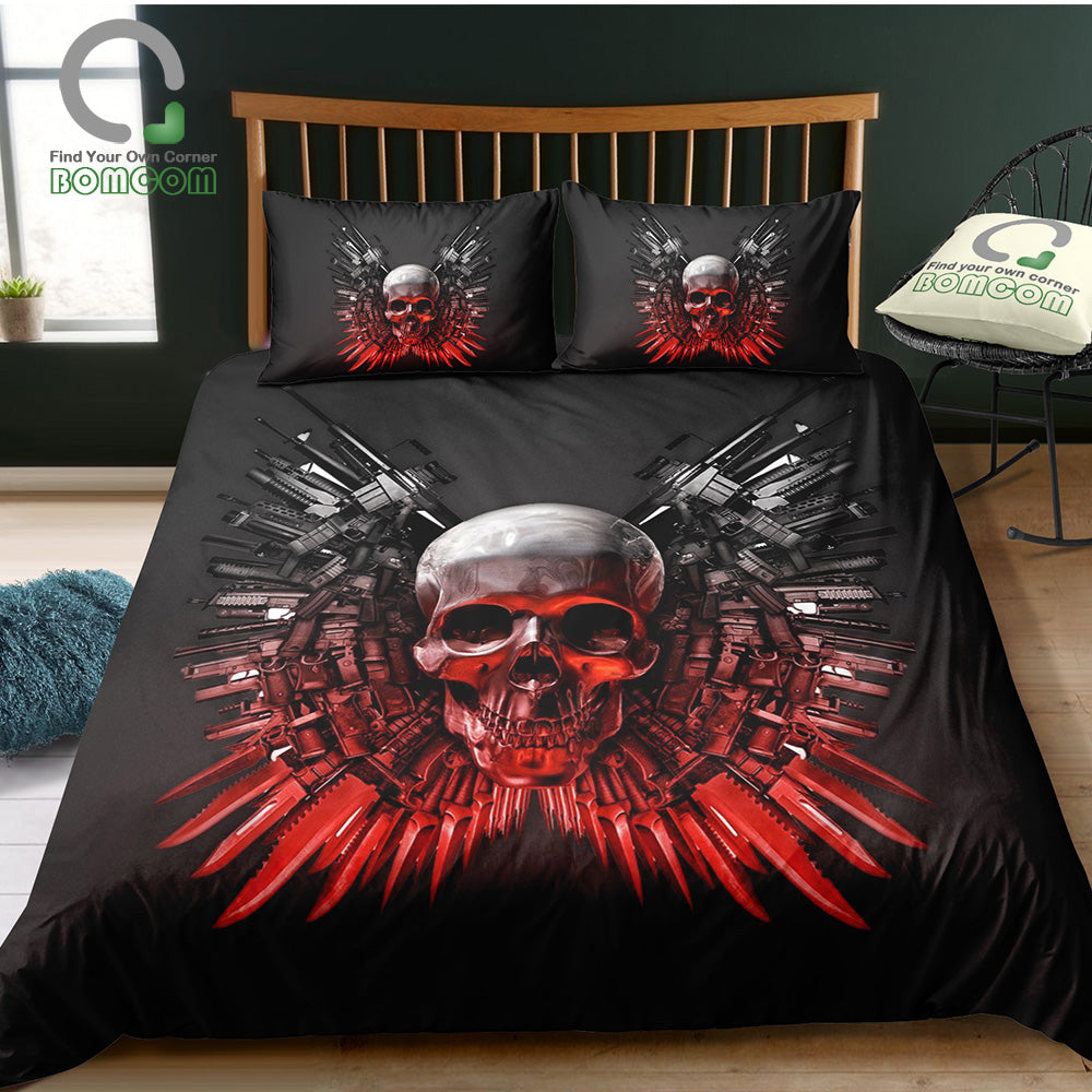 Skull Duvet Cover Skull with Swords and Guns Bedding Set