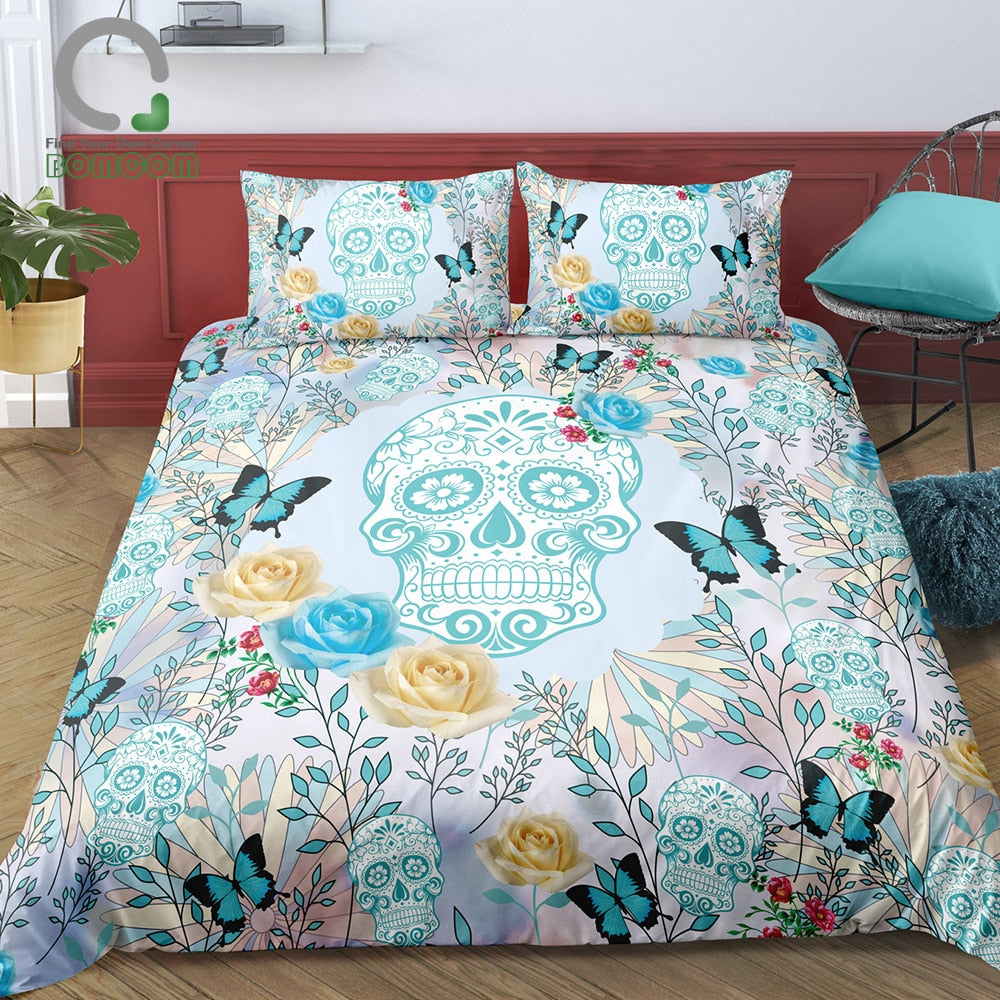 Sugar Skull Duvet Cover Set  Skull With Butterflies and Roses