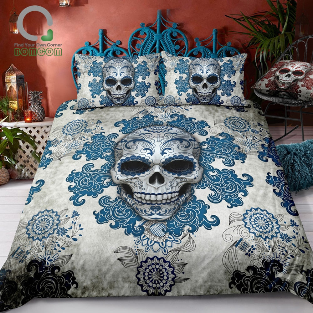 Vintage Day of The Dead Colorful Sugar Skull 100% Microfiber Blue