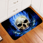 Flame Skull Bathroom Rug Non-slip Gothic Kitchen Carpet Blue Fire Door Mats Indoor