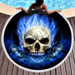 Flame Skull Large Round Beach Towel 3D Blue Yellow Fire Microfiber Toalla Picnic Blanket Gothic Yoga Mat 150cm