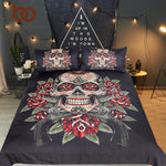 Floral Skull Bedding Set King Vintage Duvet Cover 3 Pieces Sugar Skull Bedclothes Flowers Black White Bed Set