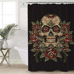 BeddingOutlet Floral Sugar Skull Shower Curtain Waterproof Vintage Bathroom Curtain With Hooks Flowers Black White Curtain